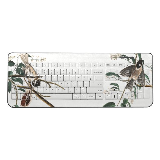 Audubon Titmouse Birds Wildlife Wireless Keyboard