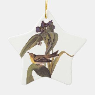 Audubon Vigor's Vireo with Purple Flower Christmas Ornament