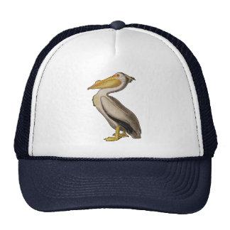 Audubon White Pelican Bird Vintage Print Mesh Hats