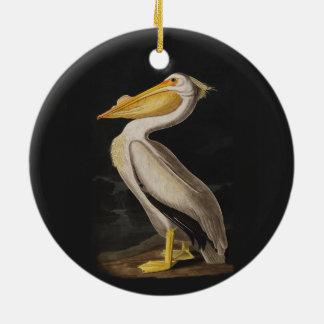 Audubon White Pelican Bird Vintage Print Christmas Ornament