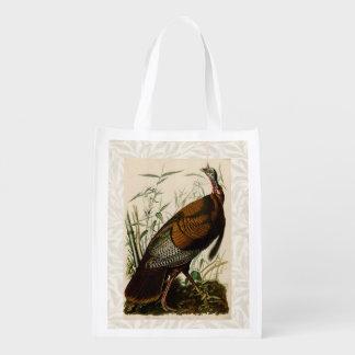 Audubon Wild Turkey Vintage Birds of America Reusable Grocery Bag