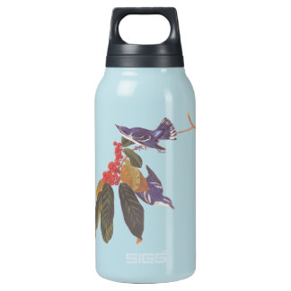 Audubon's Cerulean Warbler Bird Pair with Berries Insulated Water Bottle
