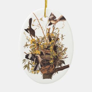 Audubon's Mockingbirds defending nest Ceramic Oval Decoration