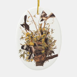 Audubon's Mockingbirds defending nest Christmas Ornament