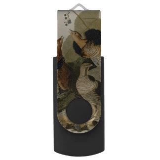 Audubon's Painting of a trio of Ruffed Grouse Swivel USB 2.0 Flash Drive
