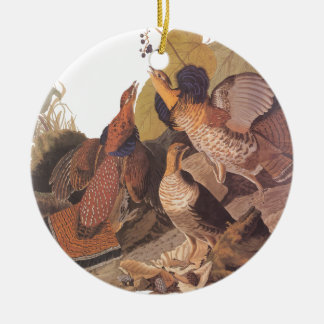 Audubon's Ruffed Grouse Double-Sided Ceramic Round Christmas Ornament