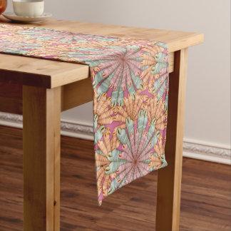 Auger Seashells Floral Art Pattern Table Runner