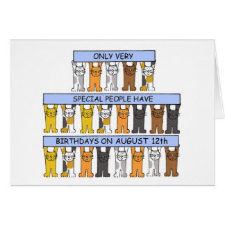 August 12th Birthday Cats Card