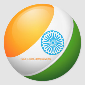 August 15 India Independence Day Classic Round Sticker