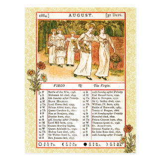 August 1884 Almanac.  Virgo, The Virgin Postcard
