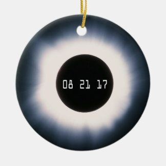 August 2017 Total Solar Eclipse in Black and White Christmas Ornament