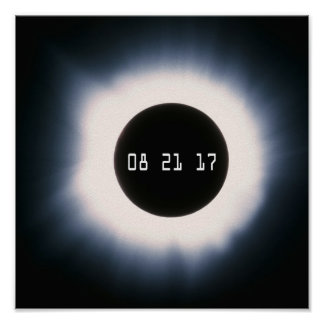 August 2017 Total Solar Eclipse in Black and White Poster