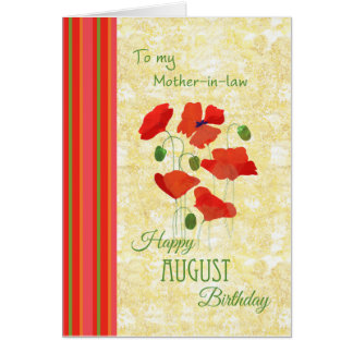 August Birthday Card for Mother-in-law, Poppies