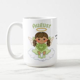 August Birthstone Angel Brunette Basic White Mug