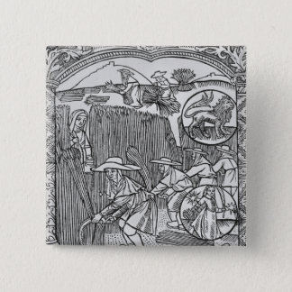 August, harvesting, Leo 15 Cm Square Badge