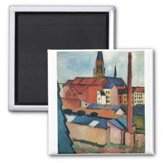 August Macke - Bonn Houses and Chimney 1911 Oil Square Magnet