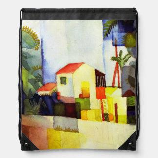 August Macke Bright House Watercolor Painting Backpacks