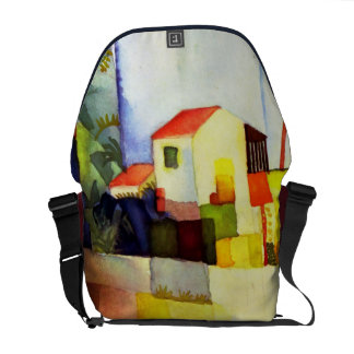 August Macke Bright House Watercolor Painting Commuter Bag