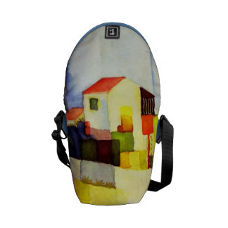 August Macke Bright House Watercolor Painting Courier Bags