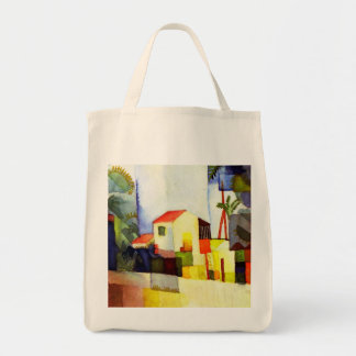 August Macke Bright House Watercolor Painting Grocery Tote Bag