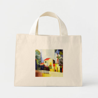 August Macke Bright House Watercolor Painting Mini Tote Bag