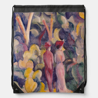 August Macke - Couple on the Forest Track Drawstring Backpack