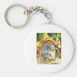 August Macke - Inner Court of Country House 1914 Basic Round Button Key Ring