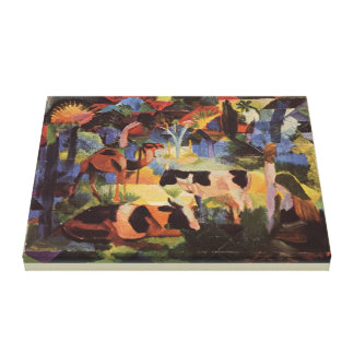 August Macke Landscape with Cows and Camel Canvas Print