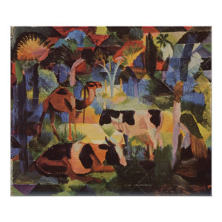 August Macke Landscape with Cows and Camel Poster