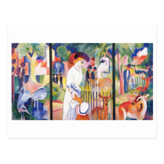 August Macke - Large Zoo Garden Triptychon 1913 Postcard