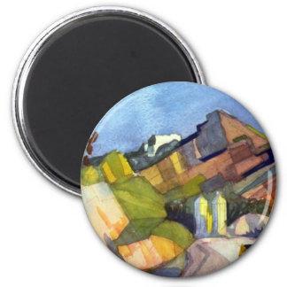 August Macke - Rocky Landscape 6 Cm Round Magnet