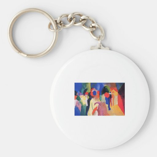 August Macke - With Yellow Jacket 1913 Watercolor Basic Round Button Key Ring