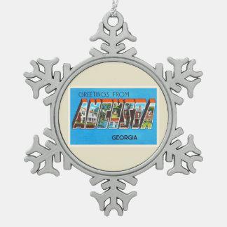 Augusta Georgia GA Old Vintage Travel Postcard- Snowflake Pewter Christmas Ornament