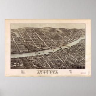 Augusta Maine 1878 Antique Panoramic Map Poster