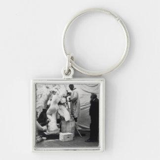 Auguste Rodin  in his Paris studio Silver-Colored Square Key Ring