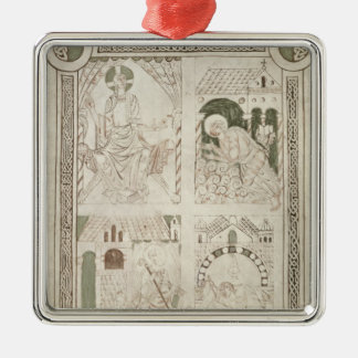 Augustine at the Feet of Christ & Scribe Silver-Colored Square Decoration