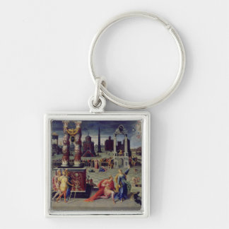 Augustus and the Tiburtine Sibyl Silver-Colored Square Key Ring