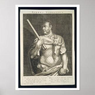 Aullus Vitellius Emperor of Rome 68 AD engraved by Poster