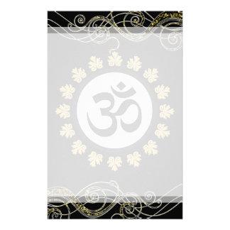 Aum Hindu Sacred Sound Symbol Black Gold Customized Stationery