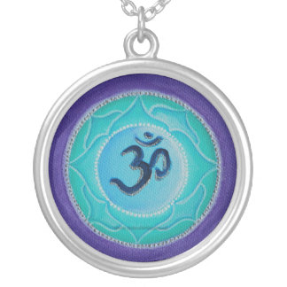 Aum mandala silver plated necklace