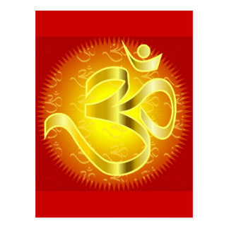 Aum or Om Symbol in yellows & reds Postcard