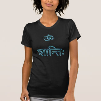 aum shanti neon Ladies Petite black T-Shirt