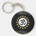 Aum Symbol Mantra Meditation Black and Gold Basic Round Button Key Ring