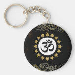 Aum Symbol Mantra Meditation Black and Gold Basic Round Button Key Ring