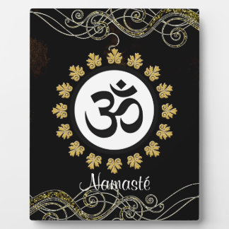 Aum Symbol Mantra Meditation Black and Gold Plaque