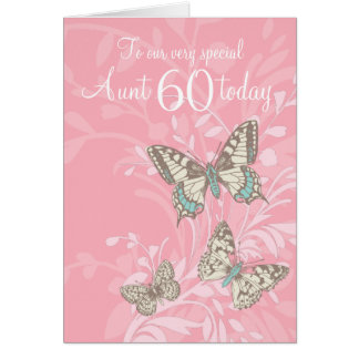 Aunt 60th birthday butterflies card
