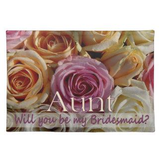 Aunt be Bridesmaid pastel roses Placemat