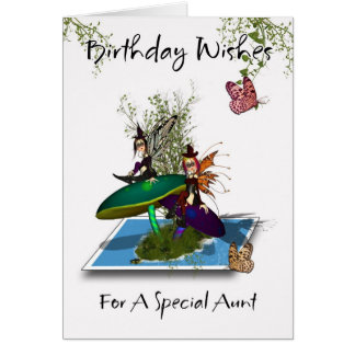 Aunt Birthday Card - Cute Gothic Fairies Springing