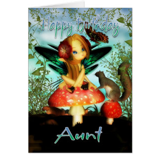 Aunt, Birthday Card, Cute Little Fairy Greeting Card