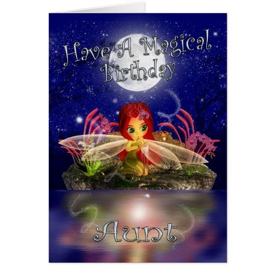 Aunt Birthday Card - Cute Little Fairy - Water Sc